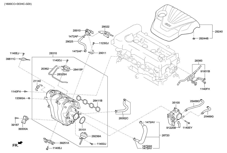 29022-2B040 - Genuine Hyundai PIPE ASSEMBLY-VAPORIZER