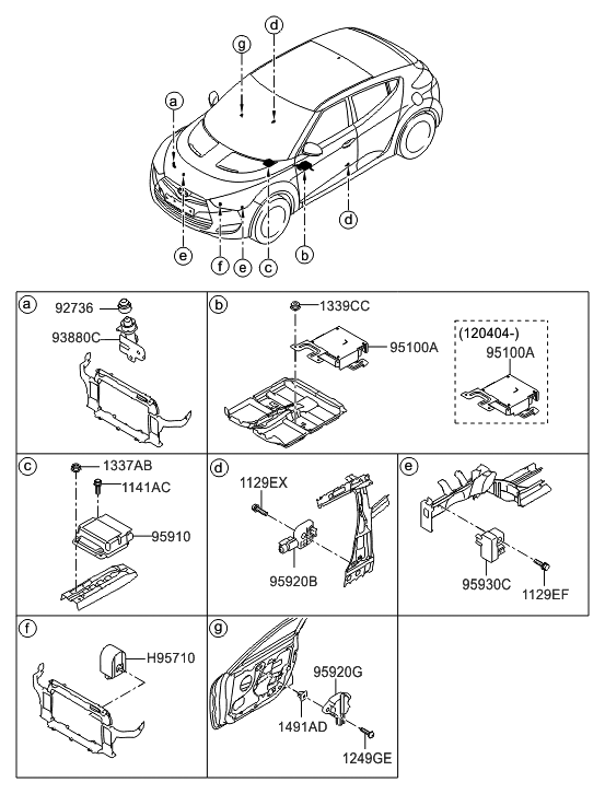 95910 2v020 genuine hyundai module assembly air bag control. Black Bedroom Furniture Sets. Home Design Ideas