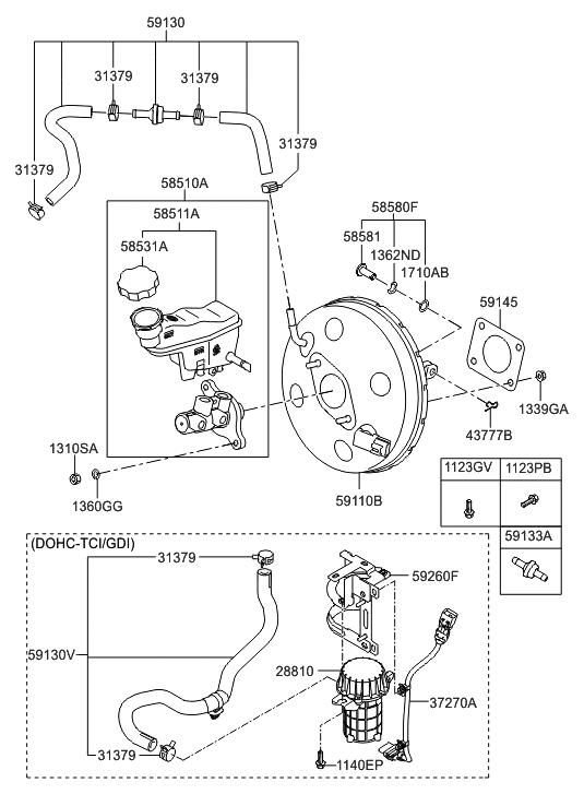 59110 2v150 genuine hyundai booster assembly brake. Black Bedroom Furniture Sets. Home Design Ideas