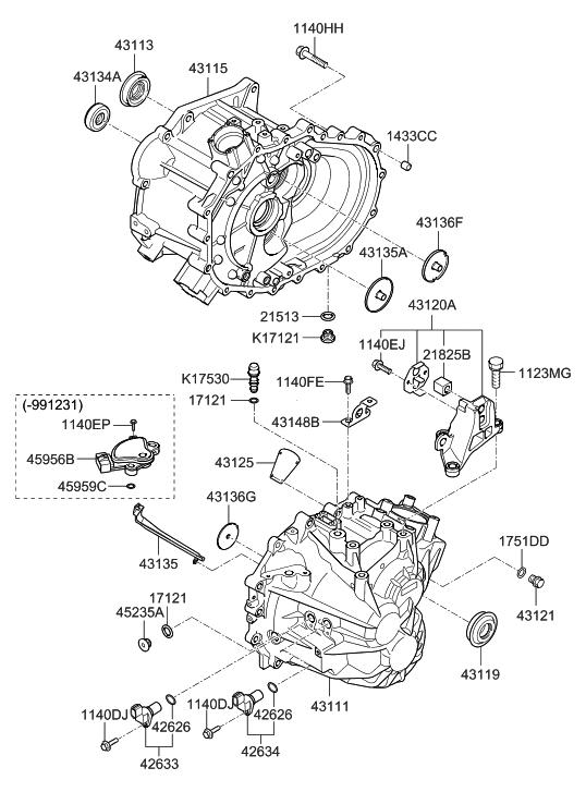 43111 26001 genuine hyundai case manual transmission rh hyundaipartsdeal com