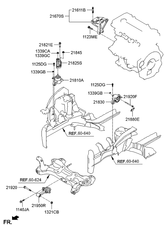 2012 Hyundai Veloster Engine & Transaxle Mounting