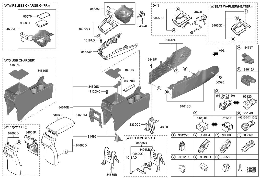 Genuine Hyundai 96120-3X000 Aux and USB Jack Assembly