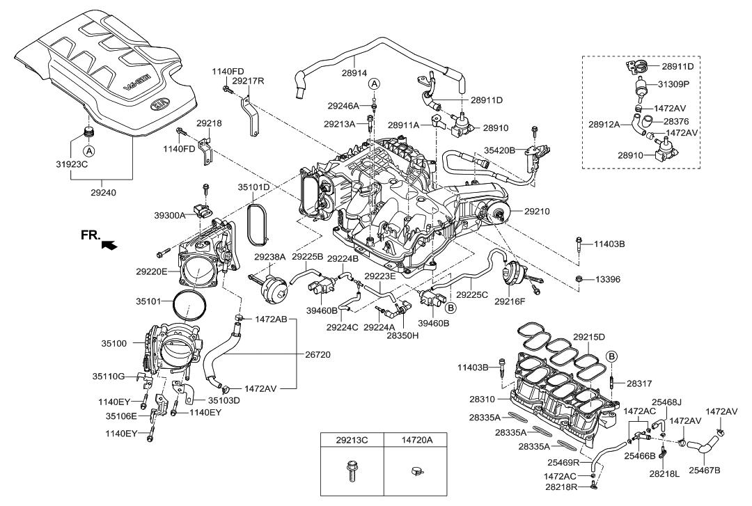 28921 3c910 genuine hyundai bracket pipe assembly pcsv. Black Bedroom Furniture Sets. Home Design Ideas