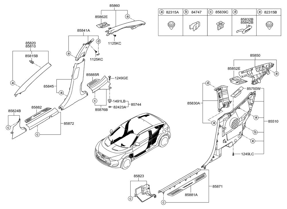 2017 Hyundai Veloster Interior Side Trim Hyundai Parts Deal