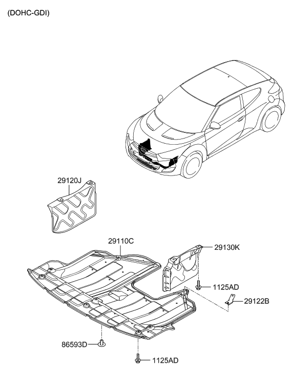 Lower Undercar Engine Shield Compatible with 2011-2013 Hyundai Elantra