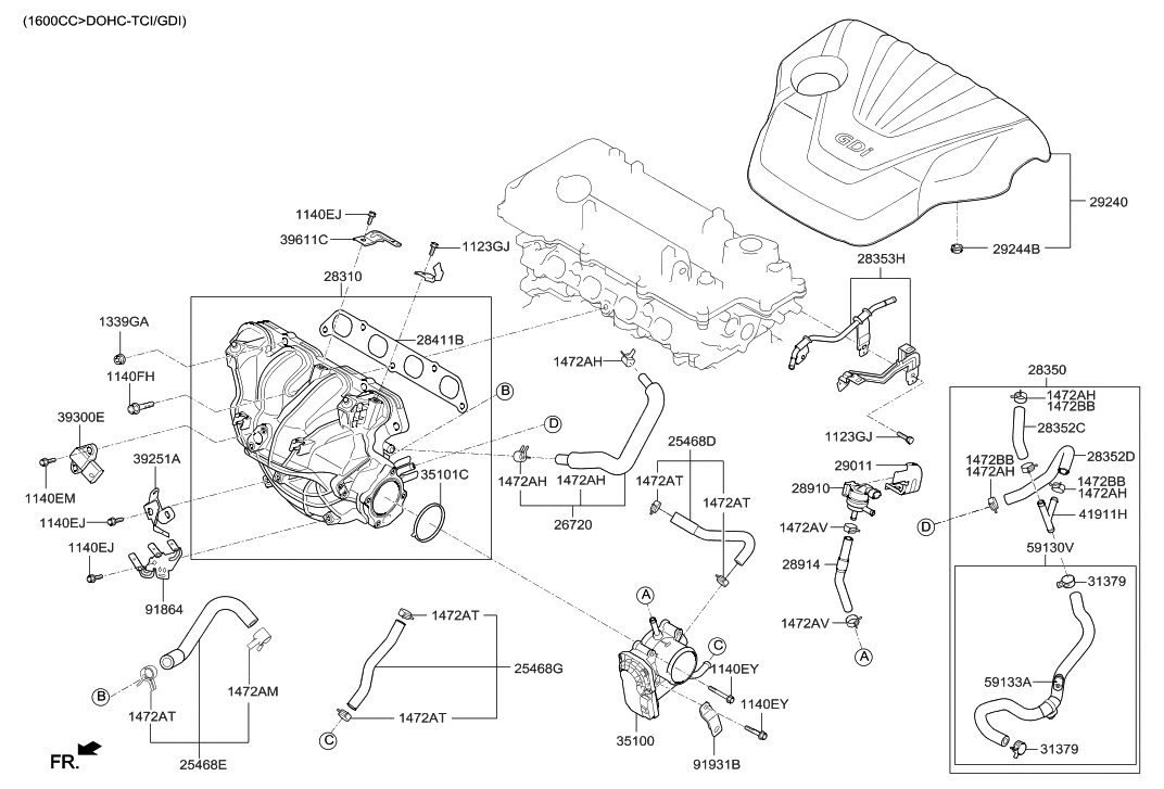 35100 2b300 Genuine Hyundai Body Assembly Throttle