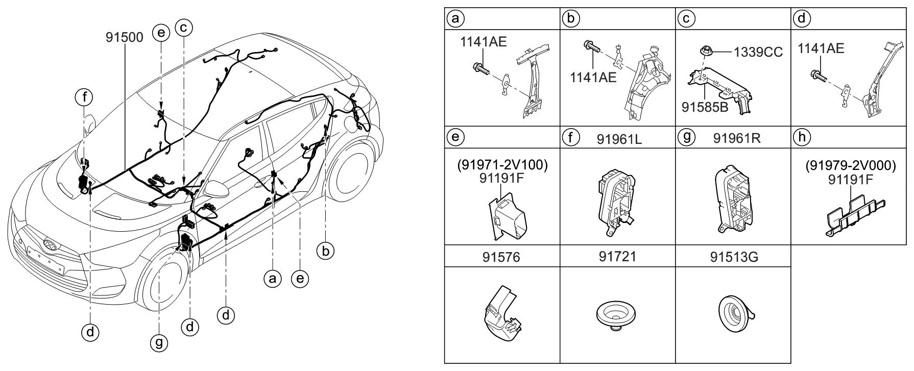 91551 2v470 Genuine Hyundai Wiring Assembly Floor Veloster Diagram 2017