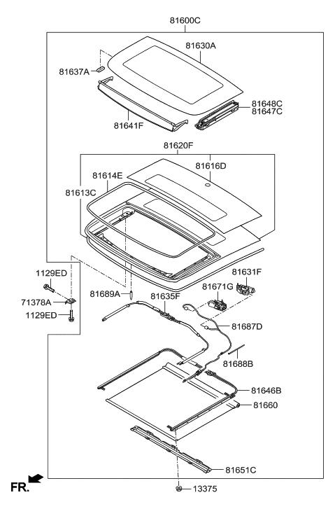 Genuine Hyundai 81610-2V500 Panorama Roof Frame Assembly