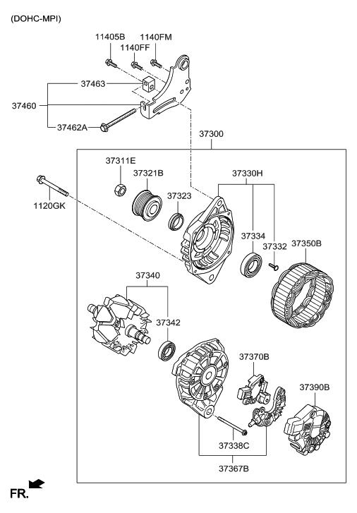 37370 2a400 Genuine Hyundai Regulator Assembly Generator