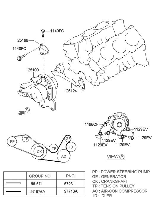 2005 Hyundai Xg350 Coolant Pump