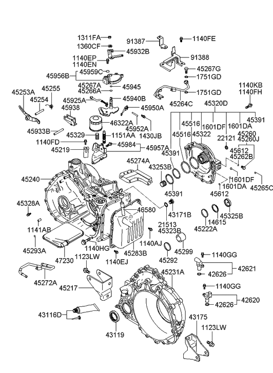 2005 Hyundai XG350 Auto Transmission Case - Hyundai Parts Deal