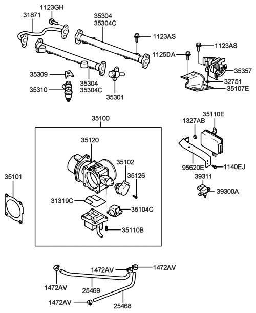 2004 Hyundai Xg350 Throttle Body  U0026 Injector