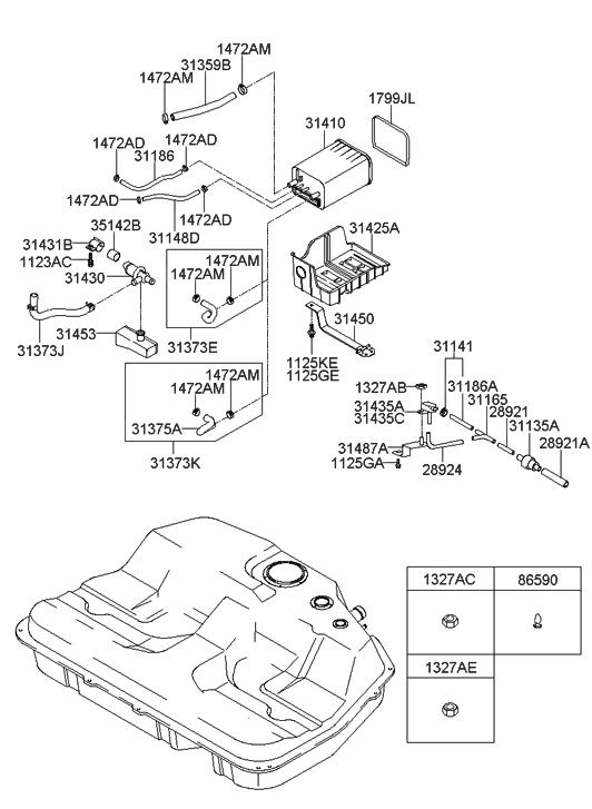 2001 hyundai vapor canister diagram