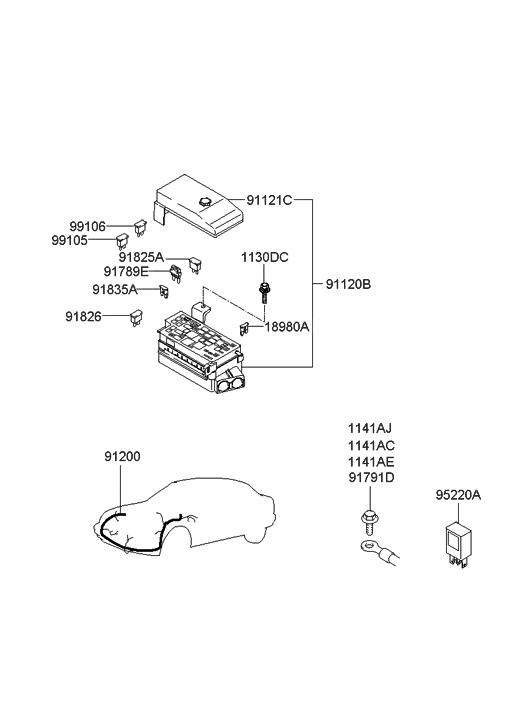 91220-39521 - genuine hyundai box assembly-junction  genuine hyundai parts