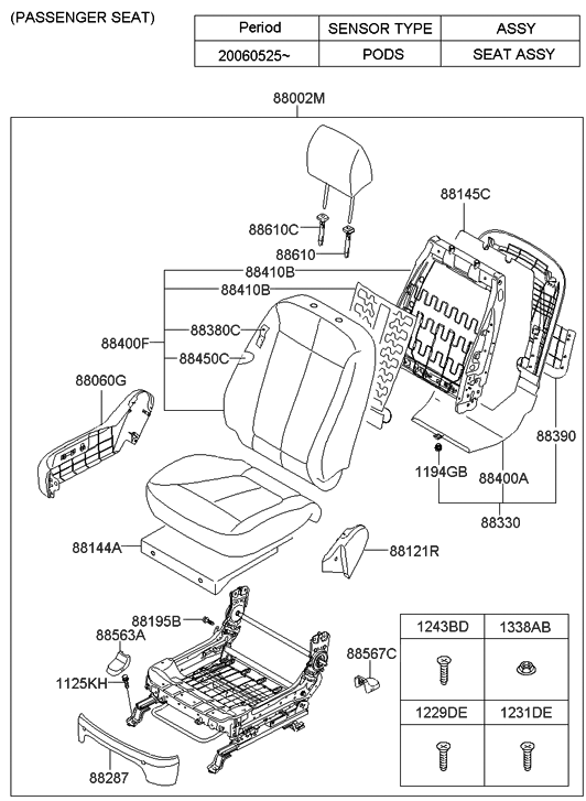 Genuine Hyundai 88160-2B200-J4R Seat Cushion Covering Front