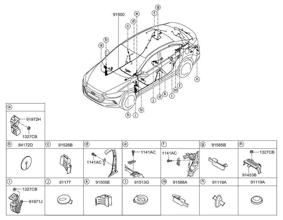 2016 Hyundai Elantra Korean made Floor Wiring