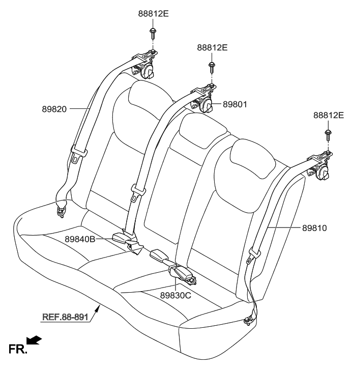 2016 Hyundai Elantra Korean made Rear Seat Belt