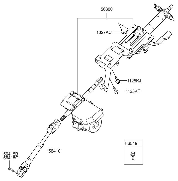2009 Hyundai Elantra Touring Steering Column & Shaft