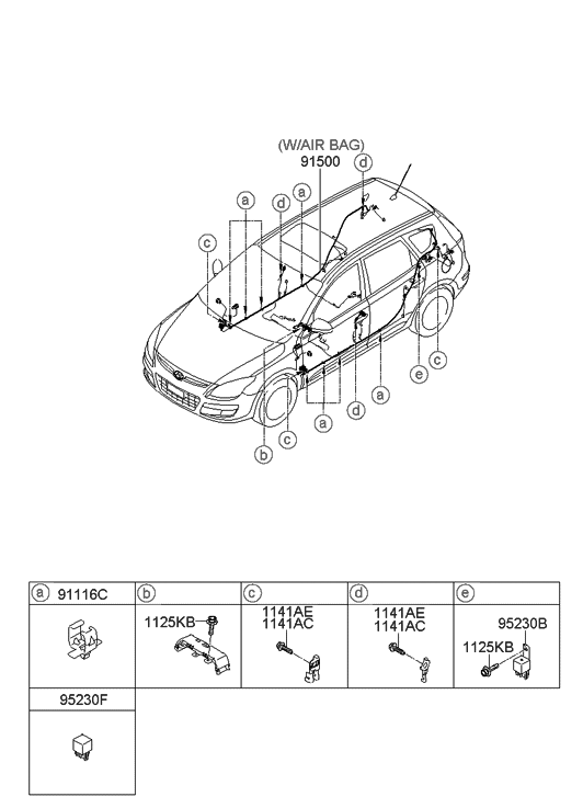 2008 Hyundai Elantra Touring Floor Wiring