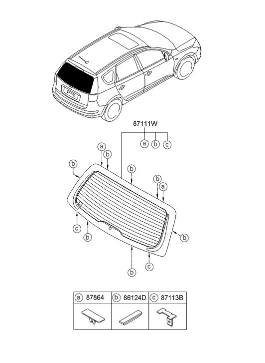 2009 Hyundai Elantra Touring Rear Window Glass & Moulding