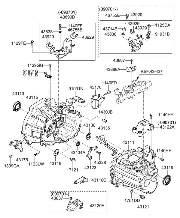 2011 Hyundai Elantra Touring Transaxle Case