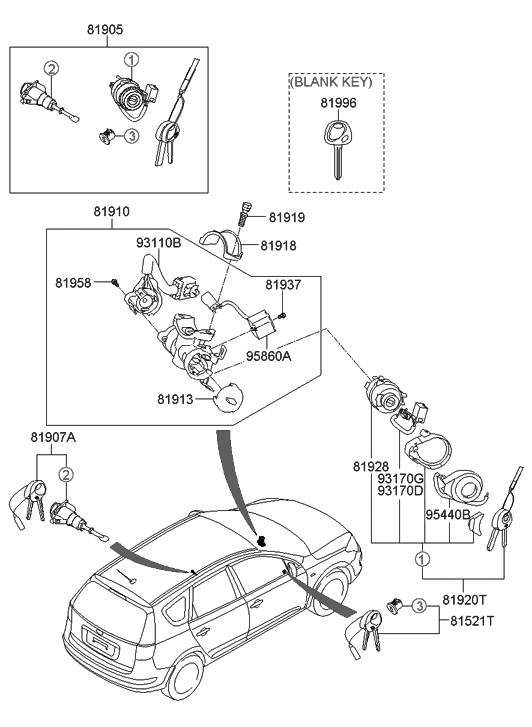 2011 Hyundai Elantra Touring Key & Cylinder Set