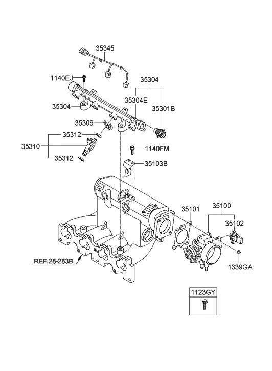 2008 Hyundai Elantra Touring Throttle Body & Injector