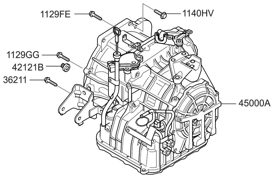 2011 Hyundai Elantra Touring Transaxle Assy Auto Engine Diagram