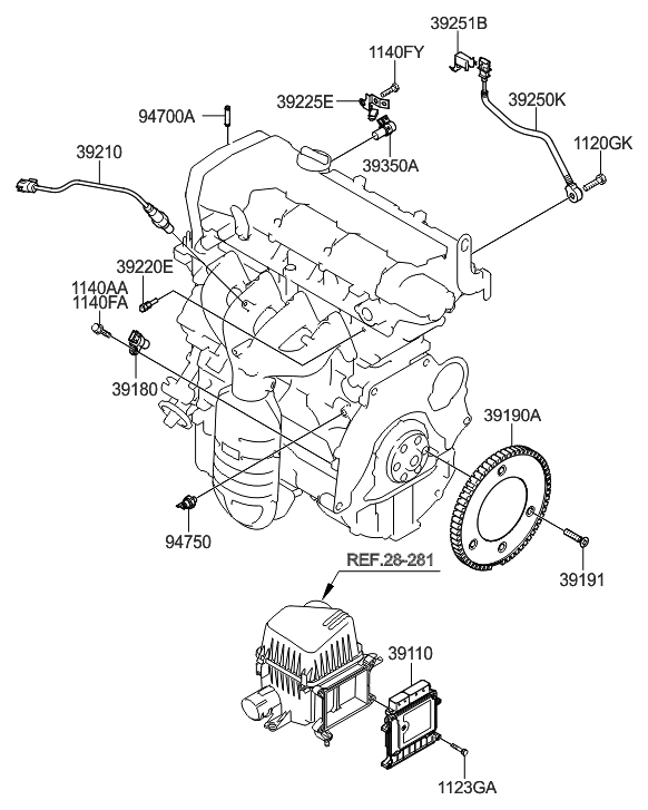 2008 hyundai elantra engine diagram 39140 23163 genuine hyundai electronic control unit  genuine hyundai electronic control unit