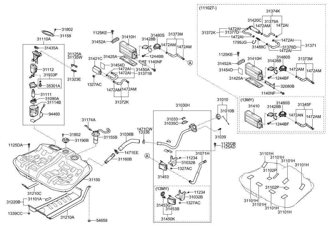 2 3l ford engine vacuum diagram 31373-4r500 - genuine hyundai hose-vacuum tube to psv