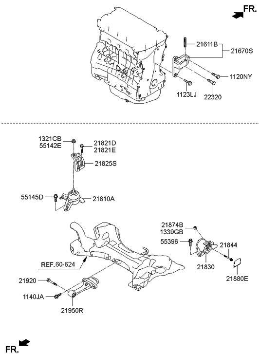 21825 4R100 Genuine Hyundai BRACKET SUPPORT ENGINE MOUNTING