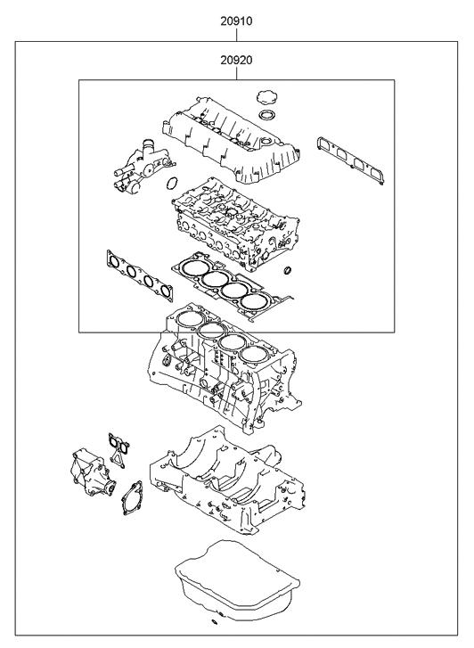 2012 Hyundai Sonata Hybrid Engine Gasket Kit Hyundai