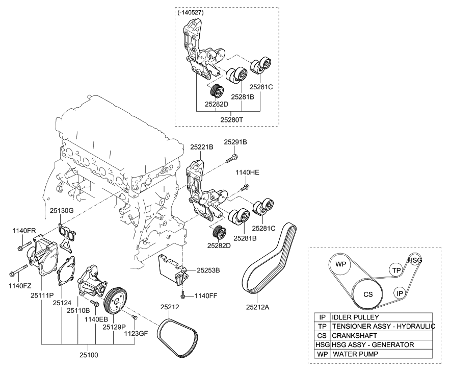 25288 2g001 genuine hyundai idler drive belt. Black Bedroom Furniture Sets. Home Design Ideas