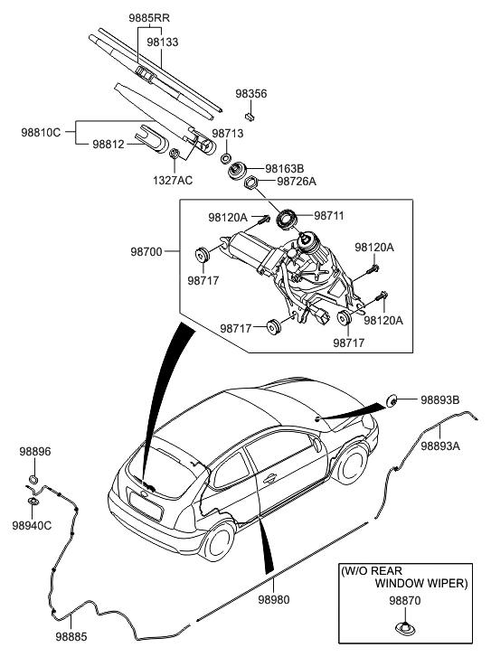 2010 Hyundai Accent Windshield Wiper Rear Hyundai Parts Deal