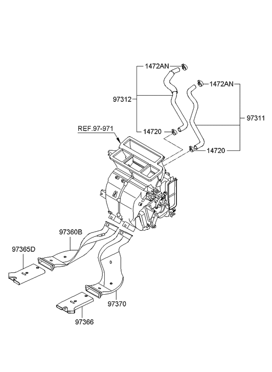 2010 Hyundai Accent Heater System-Duct & Hose