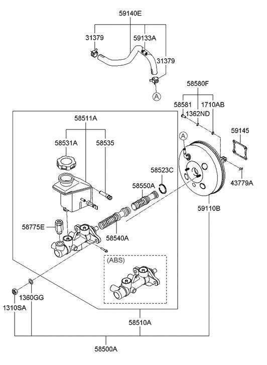 2007 Hyundai Accent Brake Master Cylinder & Booster