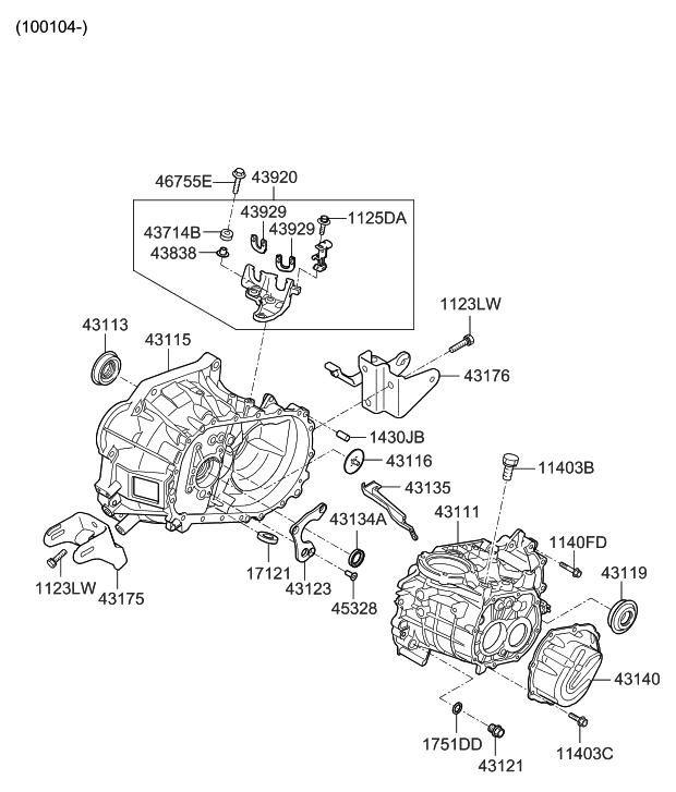 43140 32000 genuine hyundai parts rh hyundaipartsdeal com 2001 Hyundai Accent Transmission Diagram 2005 Hyundai Accent Transmission Diagram