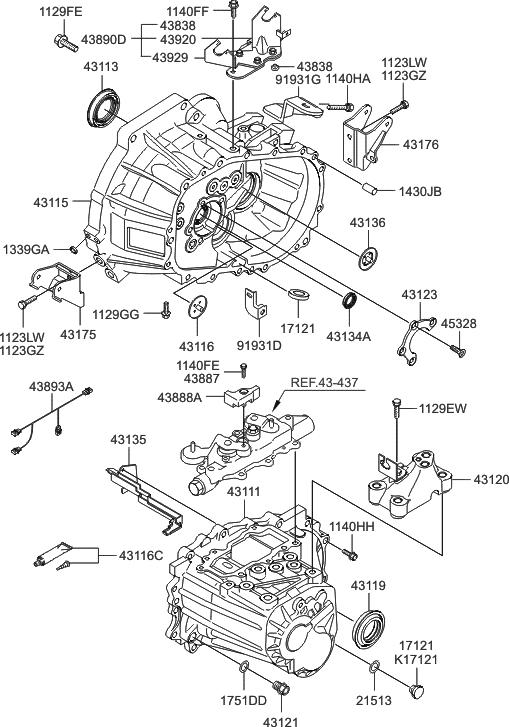 43115 23010 genuine hyundai housing clutch rh hyundaipartsdeal com 2001 Hyundai Accent Transmission Diagram Hyundai Accent Fuel System Diagram