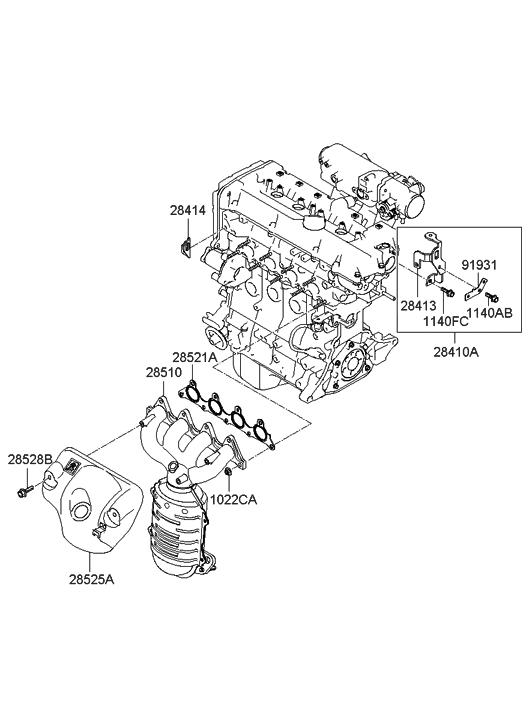 2009 Hyundai Accent Exhaust Manifold - Hyundai Parts DealGenuine Hyundai Parts