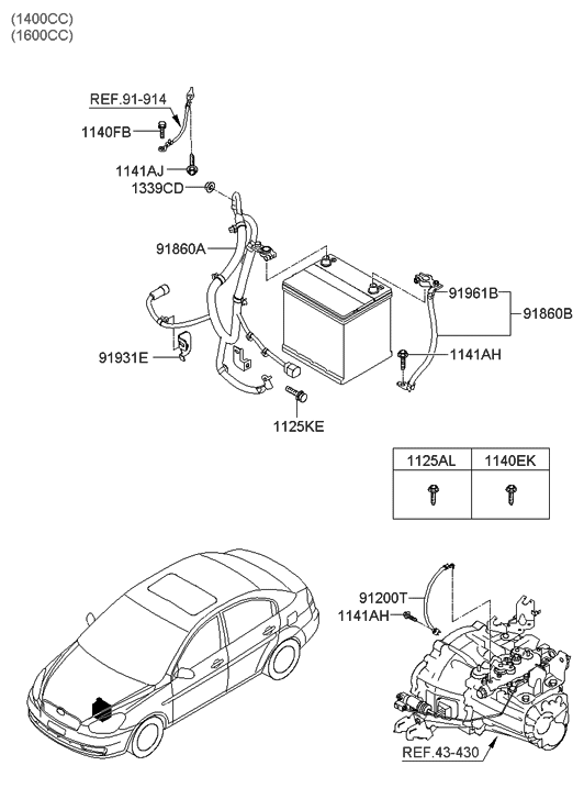 2009 hyundai accent battery wiring