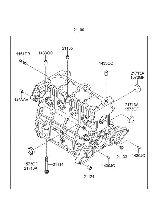 2010 Hyundai Accent Cylinder Block - Hyundai Parts DealGenuine Hyundai Parts
