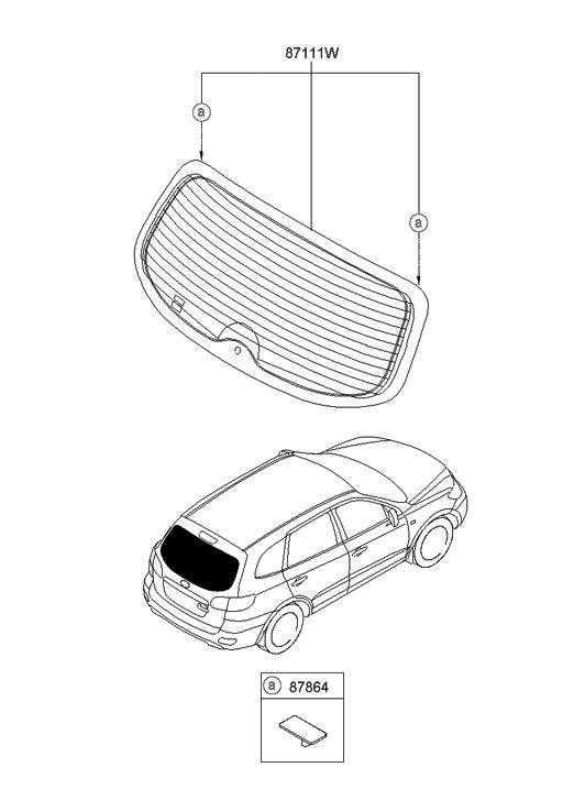 2011 Hyundai Santa Fe Rear Window Glass & Moulding