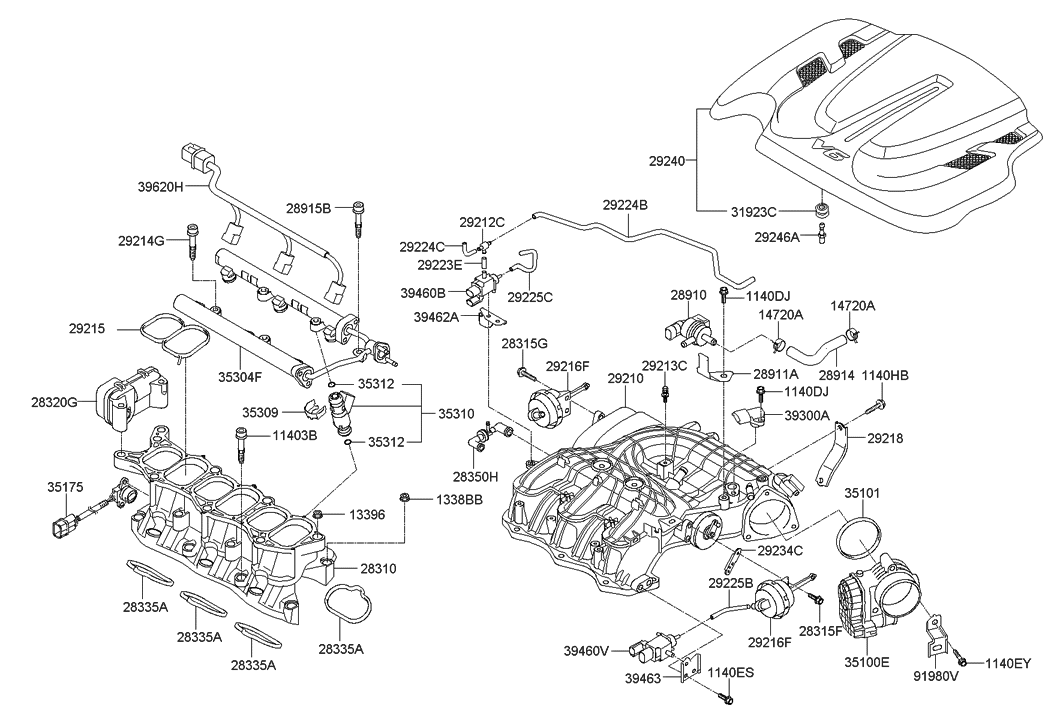 28310 2g071 genuine hyundai manifold assembly intake rh hyundaipartsdeal com 2007 Hyundai Santa Fe Engine Diagram 2006 Hyundai Santa Fe Engine Diagram