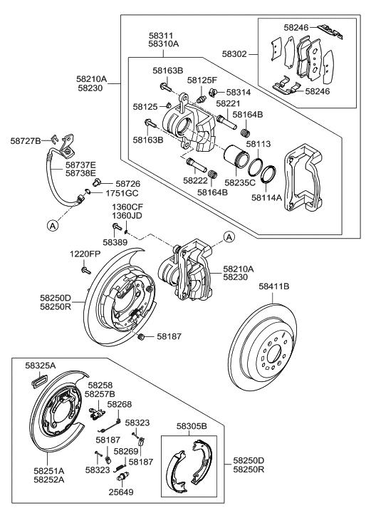 583100WA00  Genuine    Hyundai    CALIPER KITREAR    BRAKE    LH