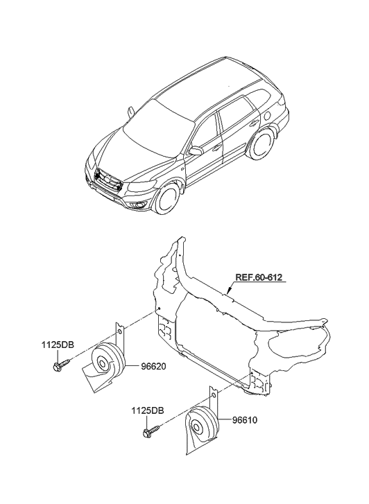 96621 2b200 Genuine Hyundai Horn Assembly High Pitch