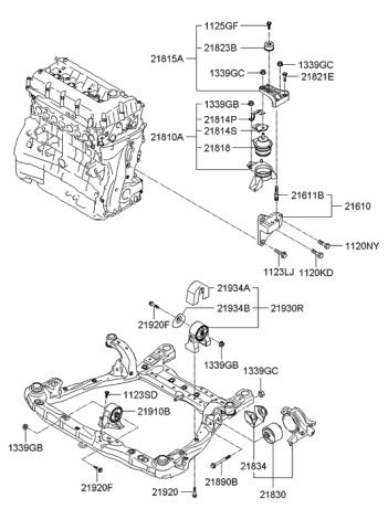 21810-3K000 - Genuine Hyundai BRACKET ASSEMBLY-ENGINE MOUNTINGHyundai Parts