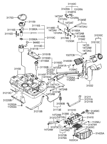 31453-3F000 - Genuine Hyundai FILTER ASSEMBLY-AIRHyundai Parts