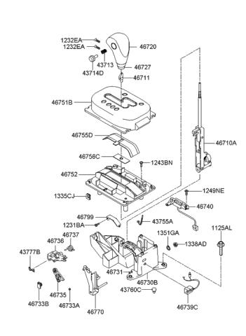 Genuine Hyundai 46770-25710-PK Shift Lever Indicator Assembly ...