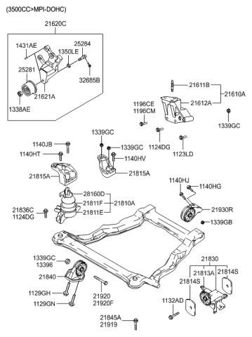 21610-38218 - Genuine Hyundai BRACKET ASSEMBLY-ENGINE SUPPORTHyundai Parts