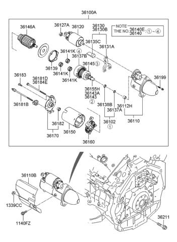 [DIAGRAM_5LK]  36130-25010 - Genuine Hyundai LEVER SET | 2008 Azera Engine Diagram |  | Genuine Hyundai Parts